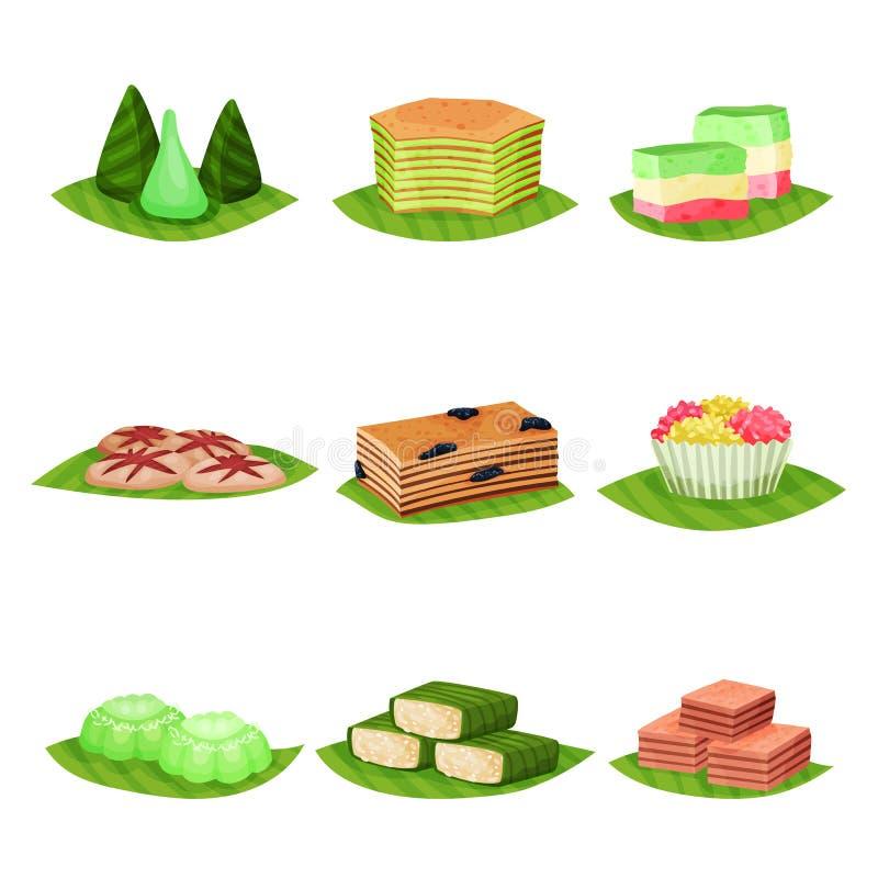 Sistema plano del vector de postres indonesios deliciosos Comida sabrosa y dulce Tema culinario Elementos para el cartel, menú o ilustración del vector