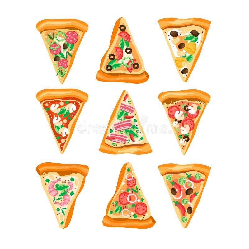 Sistema plano del vector de rebanadas del triángulo de pizza con diversos ingredientes Alimentos de preparación rápida Plato ital libre illustration
