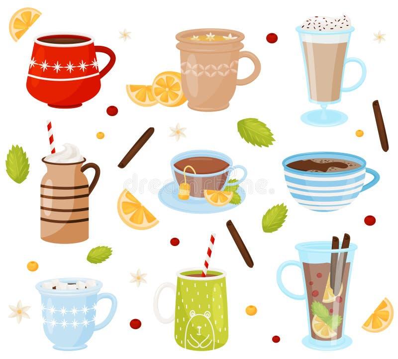 Sistema plano del vector de tazas con las bebidas sabrosas Bebidas deliciosas Café, chocolate caliente, té y vino reflexionado so stock de ilustración