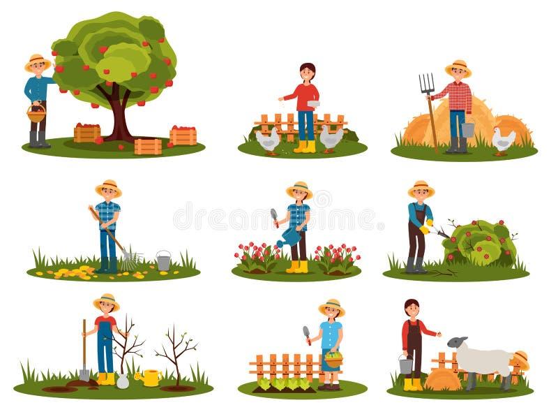Sistema plano del vector de trabajo de los caracteres del granjero al aire libre Gente contratada a cultivar un huerto Manzanas d ilustración del vector