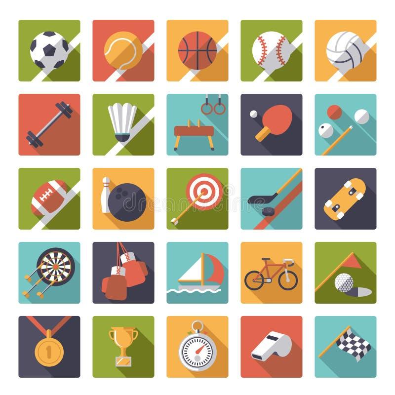 Sistema plano del vector del diseño de los iconos de los deportes del cuadrado libre illustration