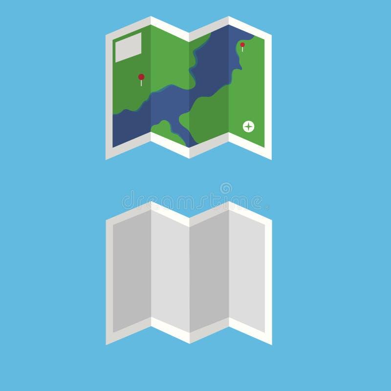 Sistema plano del vector del mapa Trace con el detalle y revele el vector Mapa del viaje stock de ilustración