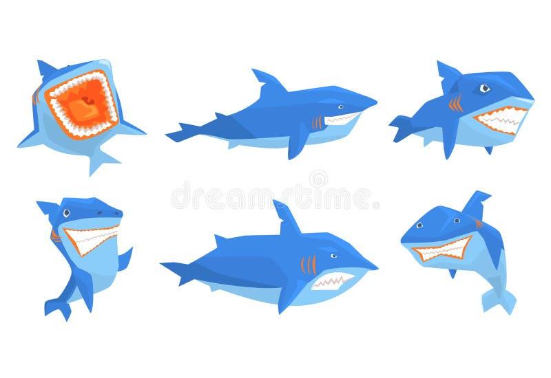 Sistema plano del vector del tiburón azul en diversas actitudes Animal marino con los dientes agudos y de la aleta la parte poste stock de ilustración