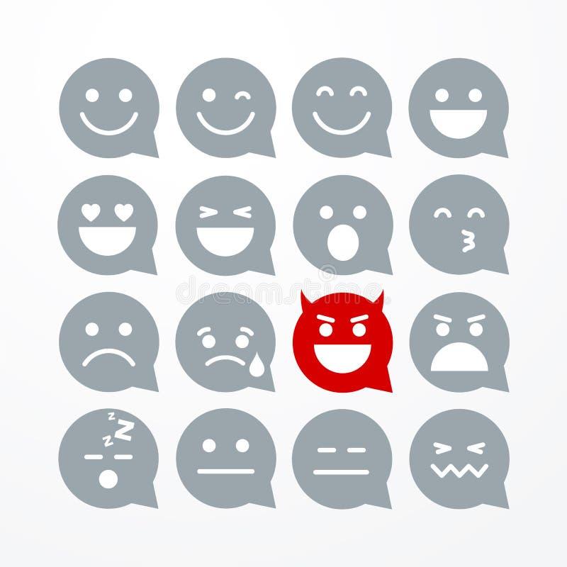 Sistema plano divertido aislado extracto del icono de la burbuja del discurso del emoticon del emoji del estilo del ejemplo del v stock de ilustración
