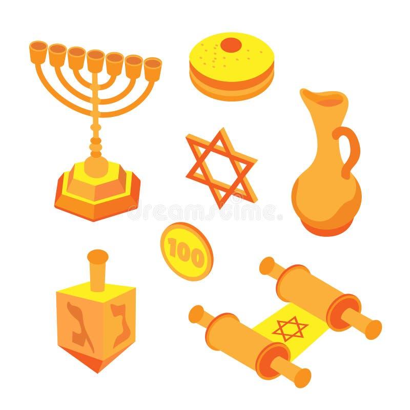 Sistema plano isométrico de Jánuca, iconos judíos de los días de fiesta con las velas del menorah y cinta feliz de Jánuca Ejemplo libre illustration