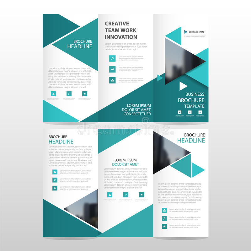 Sistema plano mínimo del diseño del triángulo del negocio del prospecto del folleto del aviador del informe del vector triple azu libre illustration