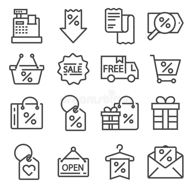 Sistema plano moderno de los iconos del negocio o de viernes negro libre illustration