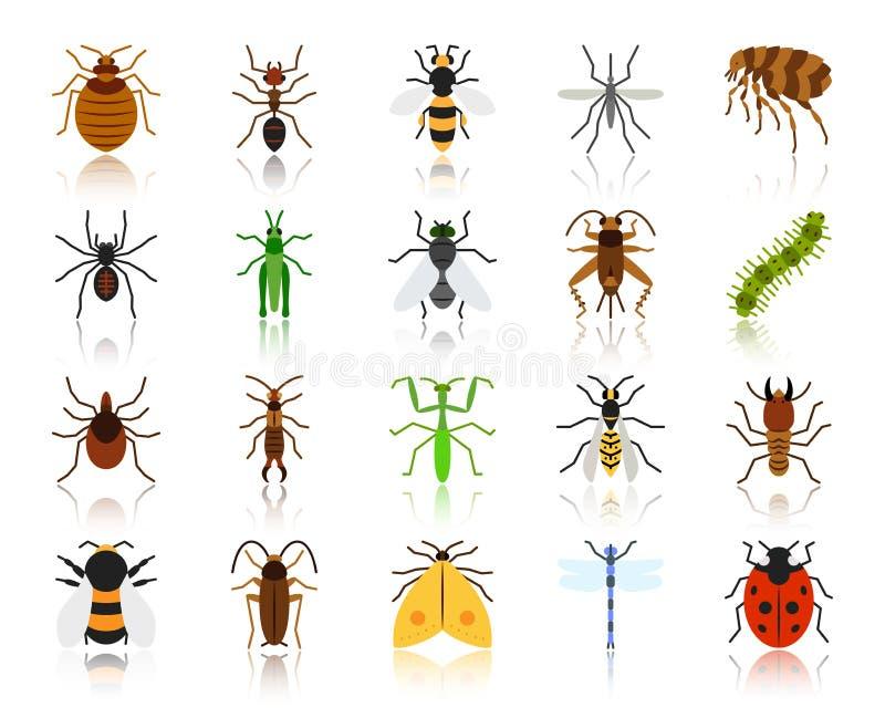 Sistema plano simple del vector de los iconos del color del insecto del peligro libre illustration