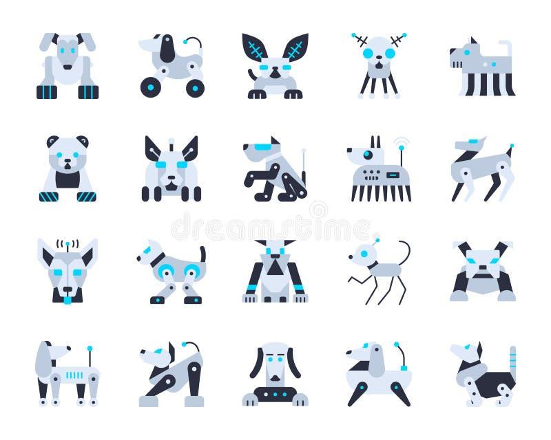 Sistema plano simple lindo del vector de los iconos del color del perro del robot stock de ilustración