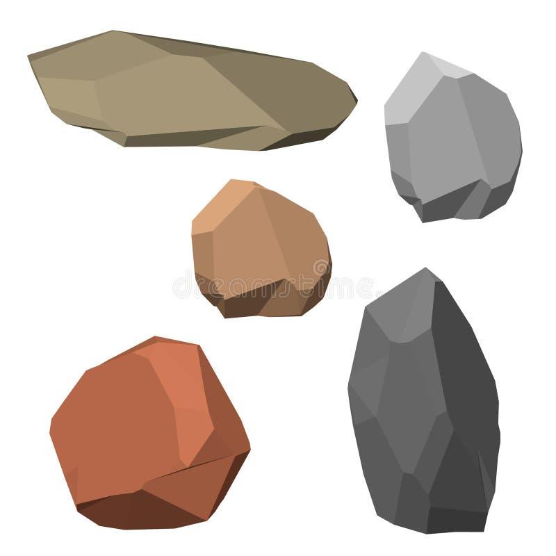 Sistema poligonal de la piedra Aislado en el fondo blanco enfermedad del vector 3d ilustración del vector