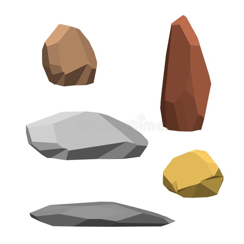 Sistema poligonal de la piedra Aislado en el fondo blanco enfermedad del vector 3d stock de ilustración