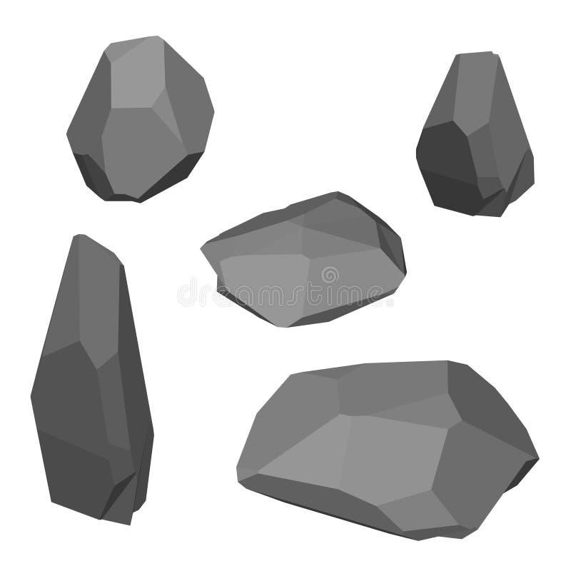 Sistema poligonal de la piedra Aislado en el fondo blanco Isométrico compita stock de ilustración