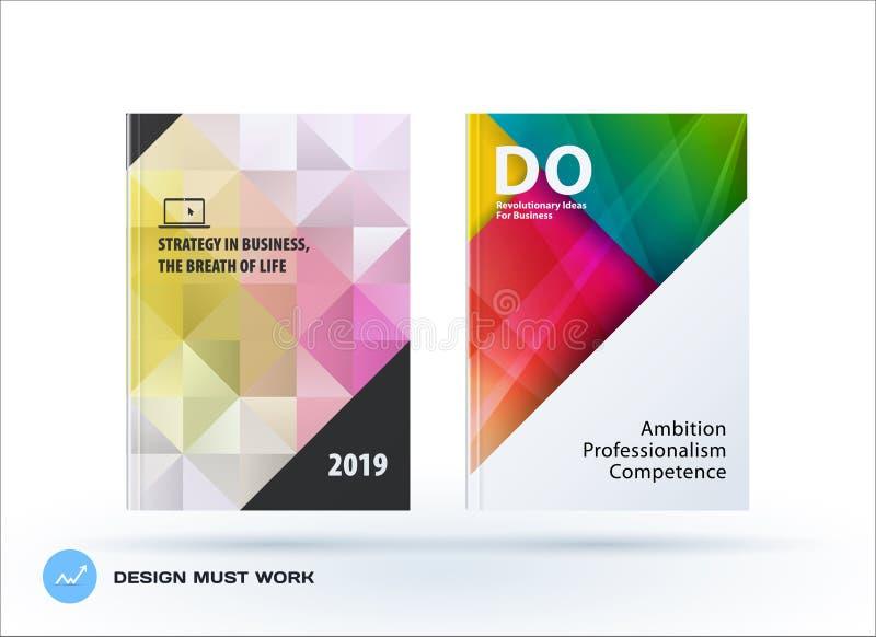Sistema poligonal del folleto del diseño, informe anual abstracto, aviador horizontal del negocio de la cubierta en A4 ilustración del vector