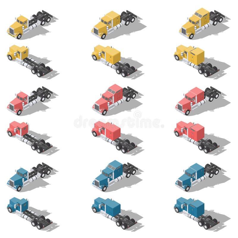 Sistema polivinílico bajo isométrico del icono de los camiones americanos libre illustration