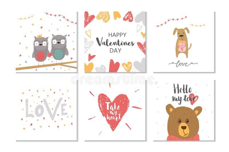 Sistema precioso del carte cadeaux del día de 6 tarjetas del día de San Valentín con el corazón, oso de peluche ilustración del vector