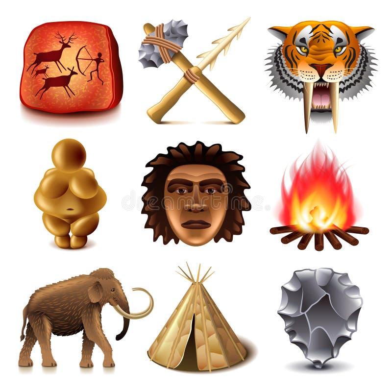 Sistema prehistórico del vector de los iconos de la gente ilustración del vector