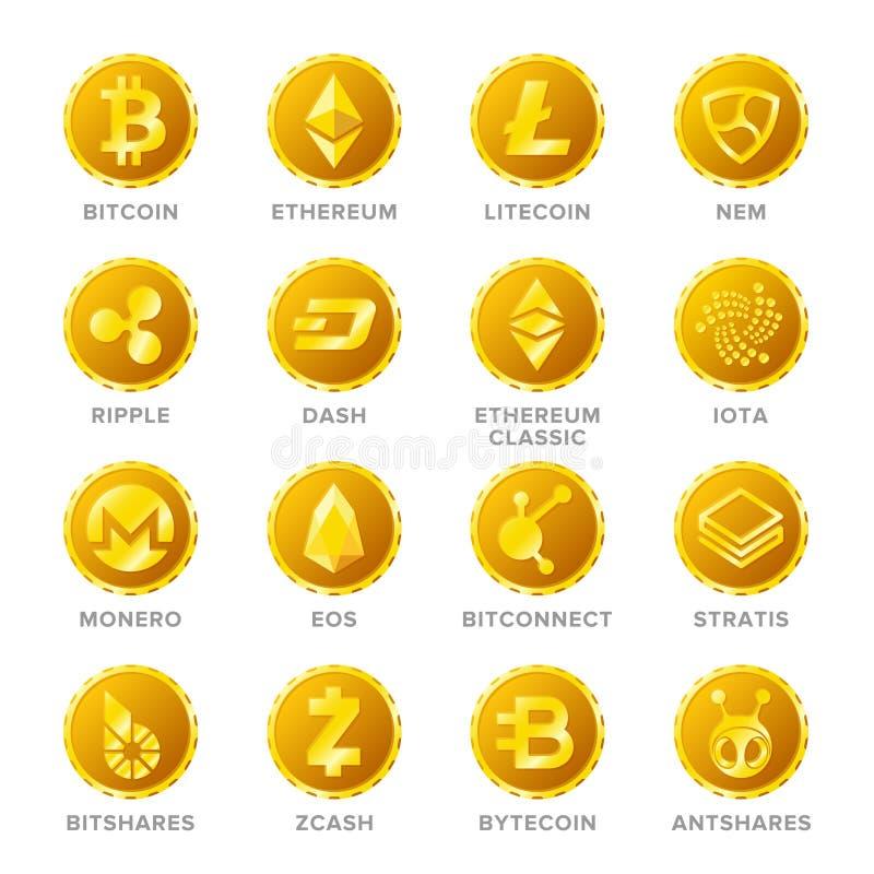 Sistema principal del vector de las muestras de la moneda del cryptocurrency en estilo plano stock de ilustración