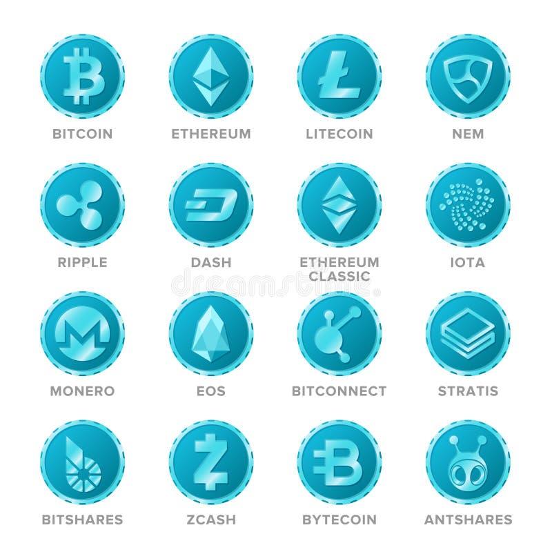 Sistema principal del vector de las muestras de la moneda del cryptocurrency en estilo plano ilustración del vector