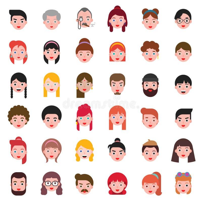 Sistema principal 1, diseño plano del icono del estilo de pelo de la diferencia de la gente de Avatar libre illustration