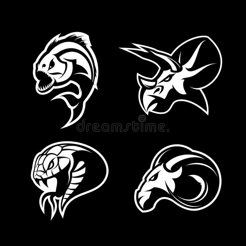 Sistema principal furioso del concepto del logotipo del vector del deporte de la piraña, del espolón, de la serpiente y del dinos libre illustration