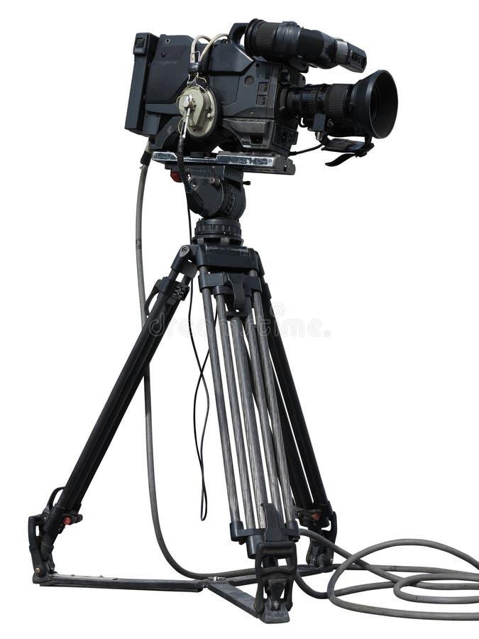 Sistema profesional de la cámara de vídeo en un trípode aislado sobre blanco imagenes de archivo