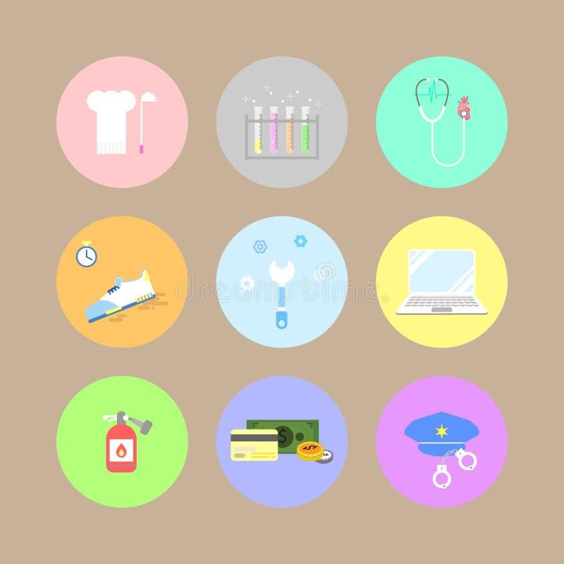 Sistema profesional del botón del icono del círculo del trabajo de trabajo del empleo de la carrera stock de ilustración