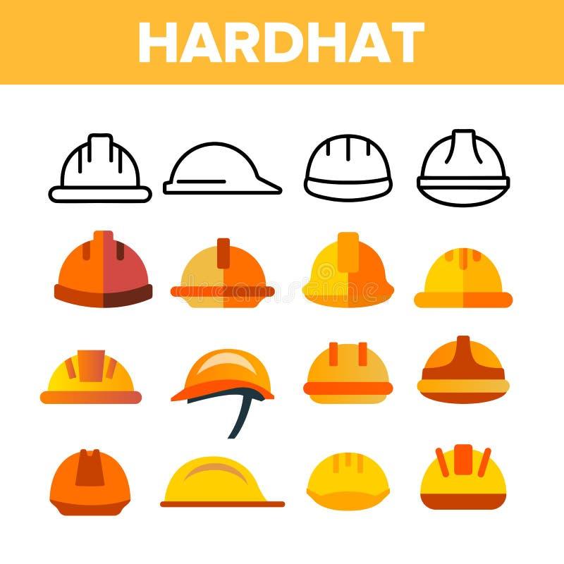 Sistema protector de los iconos del color del vector del casco libre illustration