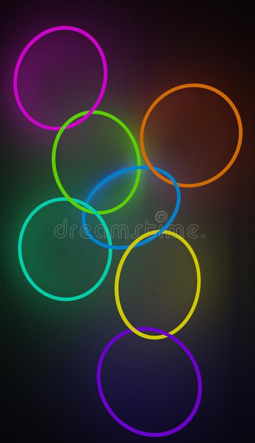 Sistema que brilla intensamente de los círculos de neón interconectados de diversos colores, imagen rendida ilustración del vector