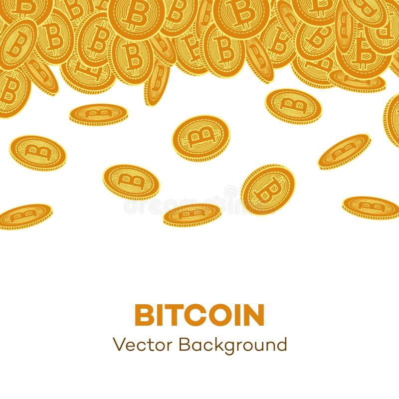 Sistema que cae de las monedas de oro planas del bitcoin del vector stock de ilustración