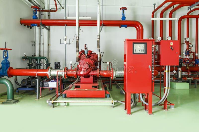Sistema que lucha la alarma de incendio de la regadera y del agua fotografía de archivo libre de regalías