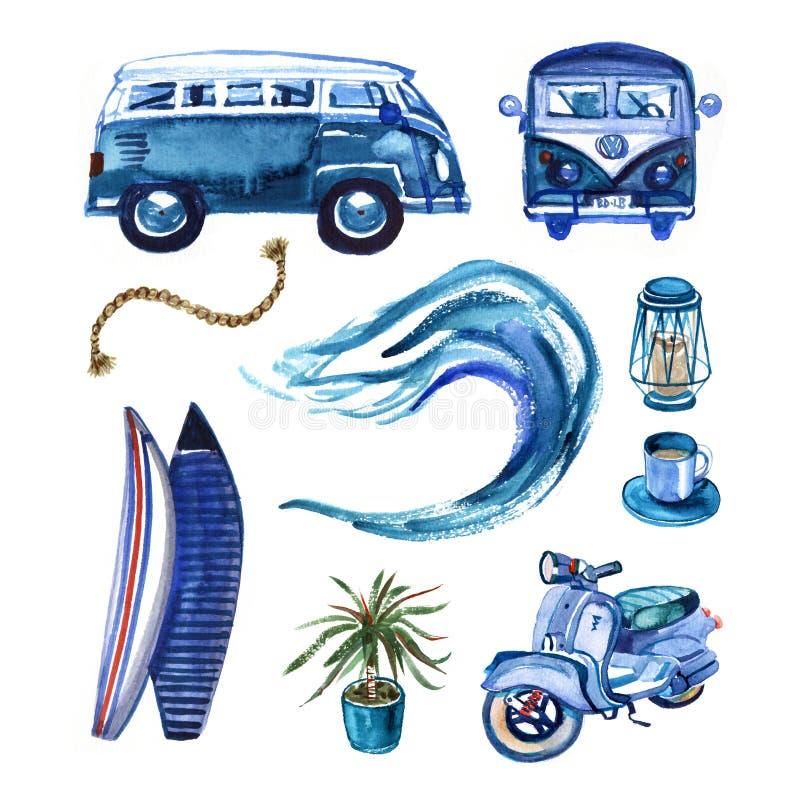 Sistema que practica surf dibujado mano de la acuarela en estilo retro stock de ilustración