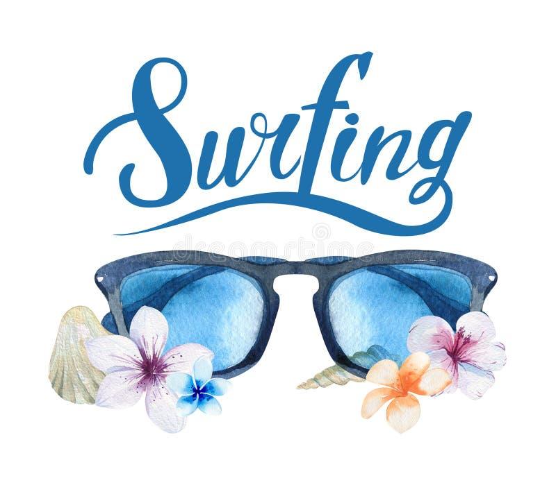 Sistema que practica surf dibujado mano del océano de la acuarela Día de fiesta de la playa tropical libre illustration