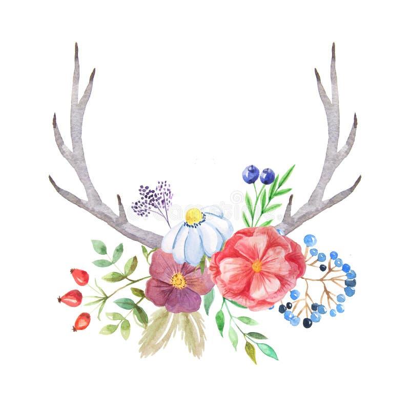 Sistema rústico de la acuarela de flores y de hojas libre illustration