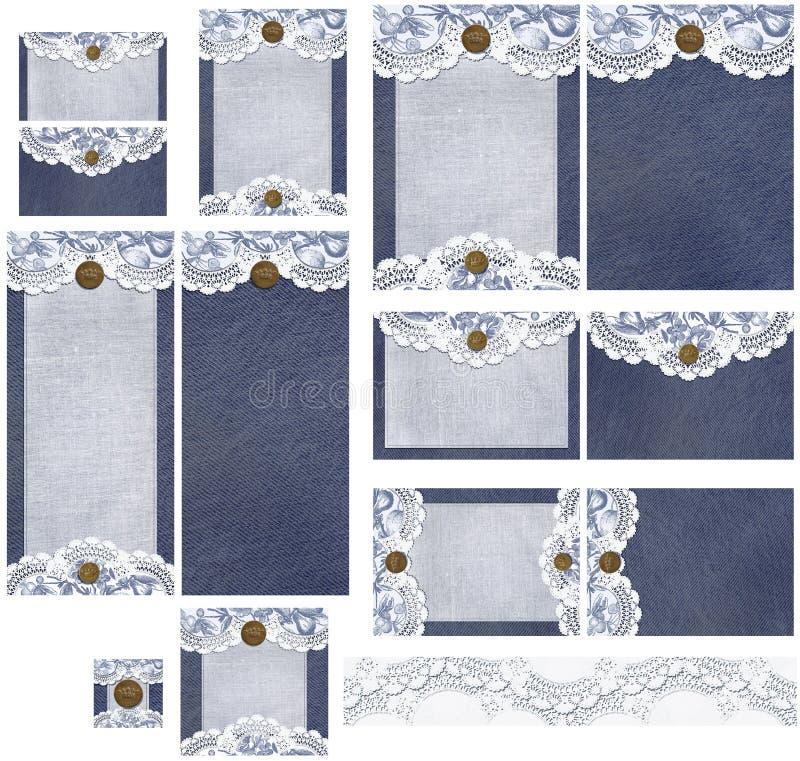 Sistema rústico romántico de la invitación del dril de algodón y de la boda del cordón imagen de archivo libre de regalías