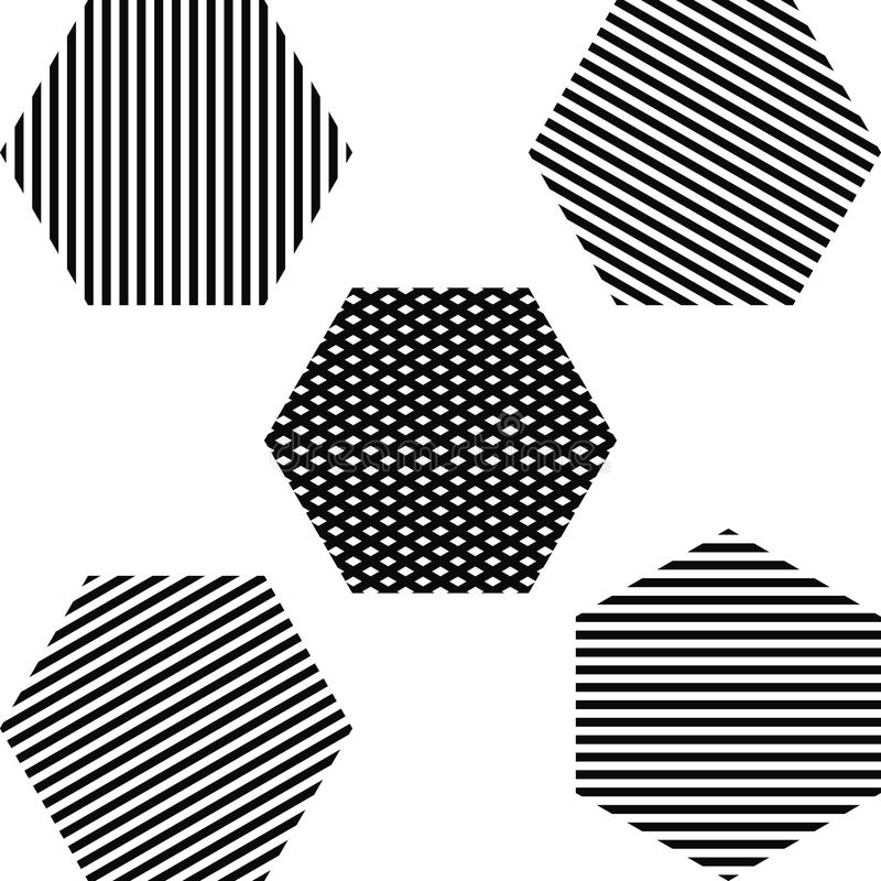 Sistema rayado del hexágono stock de ilustración