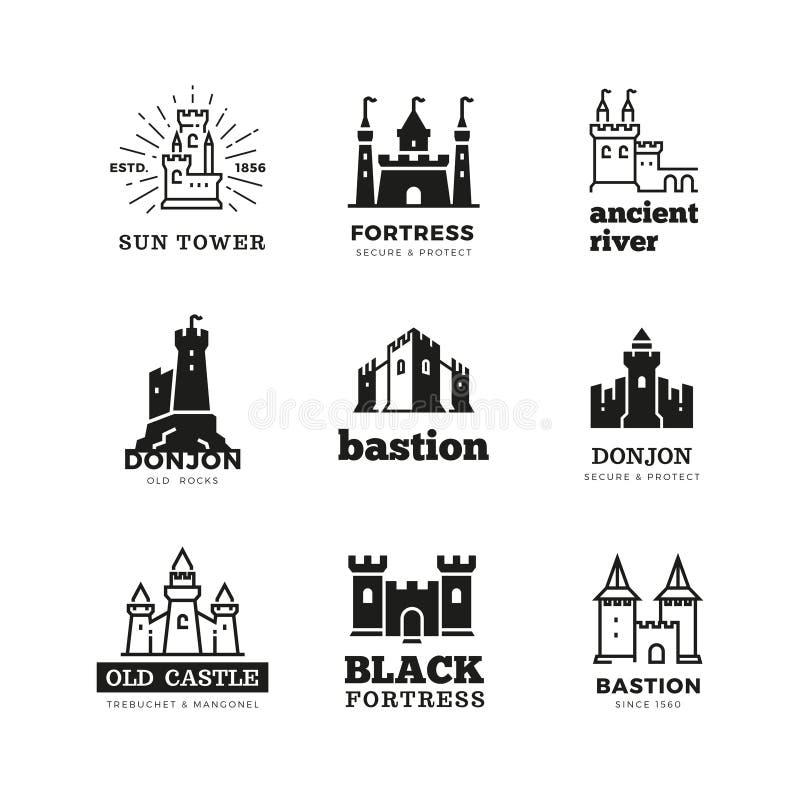 Sistema real antiguo medieval del logotipo del vector de la fortaleza del castillo y del caballero stock de ilustración