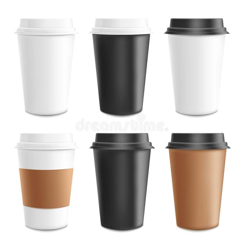 Sistema realista 3d de la maqueta y de la plantilla del papel, de la cartulina y de la taza de café plástica ilustración del vector