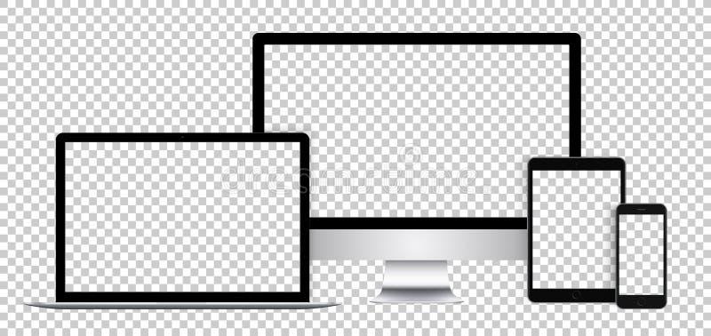 Sistema realista de dispositivos electrónicos, de la exhibición negra, del ordenador portátil, de la tableta y del teléfono con l stock de ilustración
