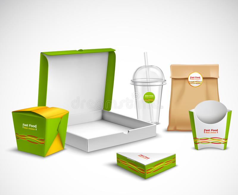 Sistema realista de empaquetado de los alimentos de preparación rápida ilustración del vector