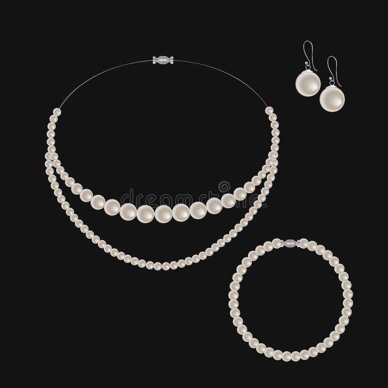 Sistema realista de joyería: collar, pulsera y pendientes de la perla Aislado en fondo negro stock de ilustración