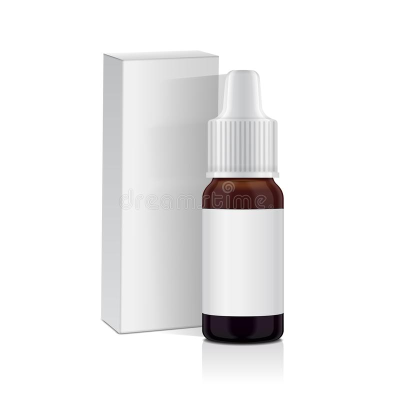 Sistema realista de la botella del marrón del aceite esencial stock de ilustración