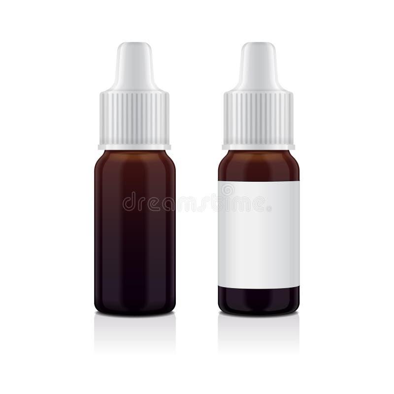 Sistema realista de la botella del marrón del aceite esencial Imite encima del cosmético o del frasco médico, frasco, sistema de  stock de ilustración