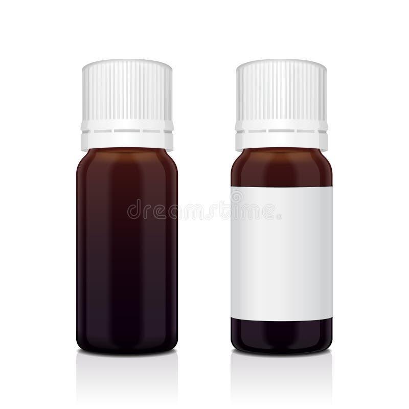 Sistema realista de la botella del marrón del aceite esencial Mofa encima del cosmético de la botella o del frasco médico ilustración del vector