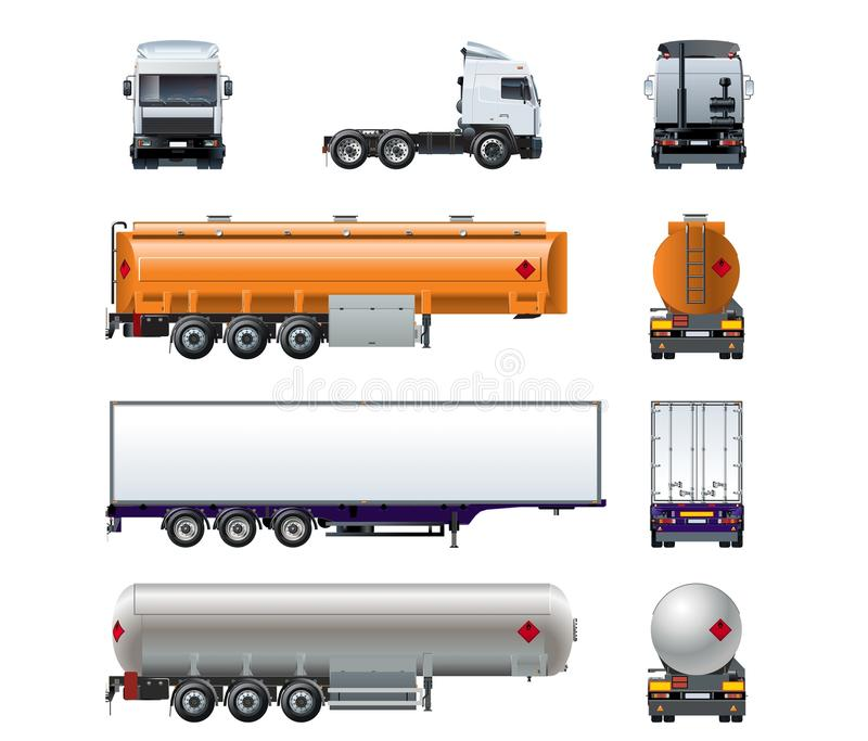 Sistema realista de la maqueta del camión del vector semi aislado en blanco stock de ilustración