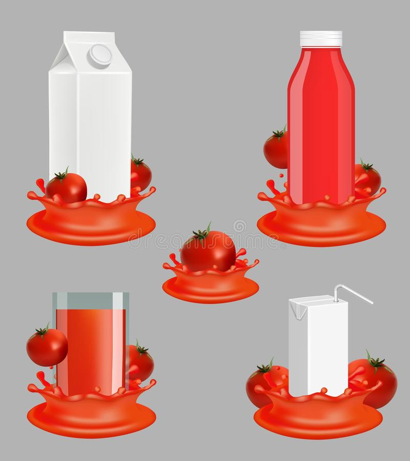 Sistema realista de la maqueta del vector del paquete del jugo de tomate libre illustration