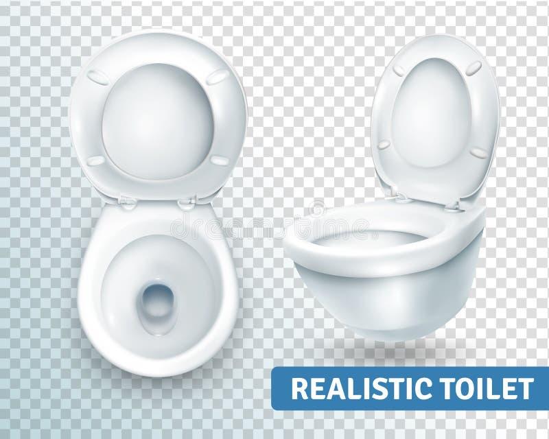Sistema realista de la taza del inodoro stock de ilustración