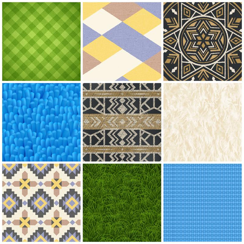 Sistema realista de la textura del suelo de la alfombra stock de ilustración