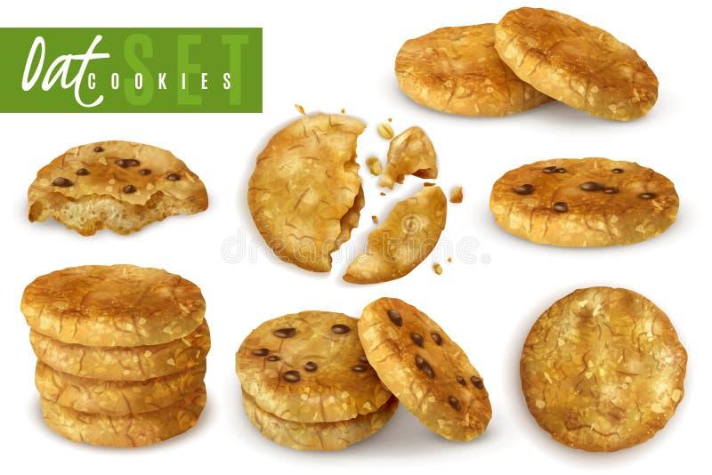 Sistema realista de las galletas de la avena libre illustration