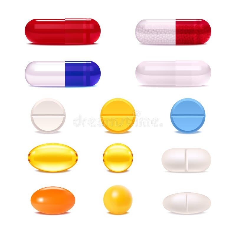 Sistema realista de las píldoras de la medicina stock de ilustración