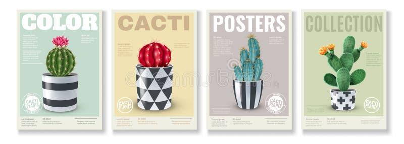 Sistema realista de los carteles de los cactus ilustración del vector